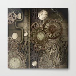 Steampunk, clocks and gears Metal Print