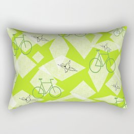 Bicycles and Butterflies Green Rectangular Pillow