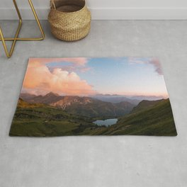 Mountain lake in Germany with Moon - landscape photography Rug