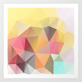 Polygon print bright colors Art Print