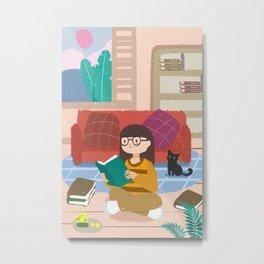 Cute Reading Girl And Cat Metal Print