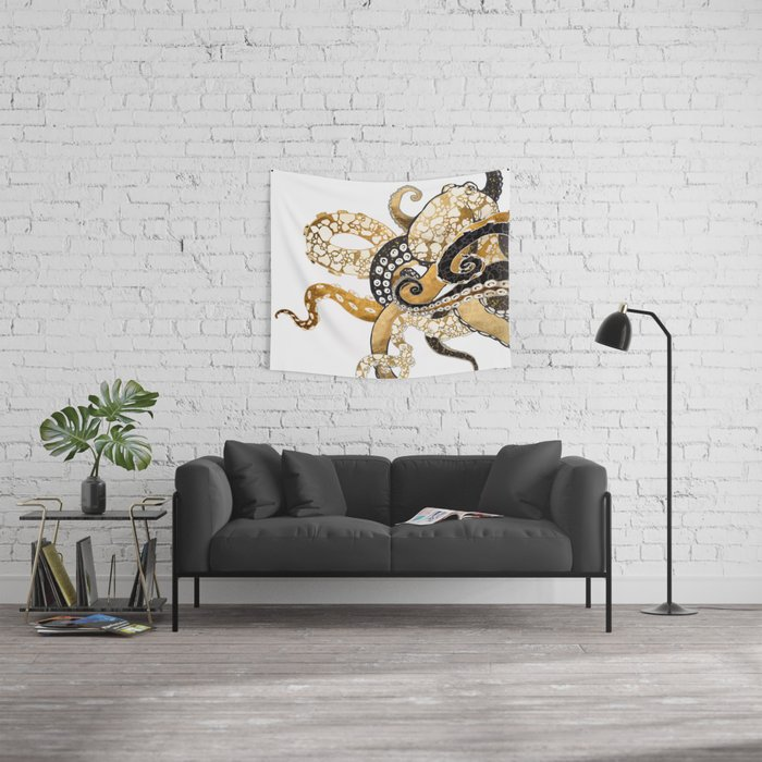 Metallic Octopus Wall Tapestry
