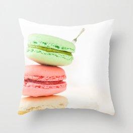 Macaron, Macarons, Macaroons, Tiny Silver Fork Throw Pillow
