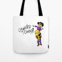 onward Tote Bags featuring Onward John! by Rebekah Kroeplin