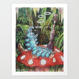 Psychedelic Hookah-Smoking Caterpillar Art Print