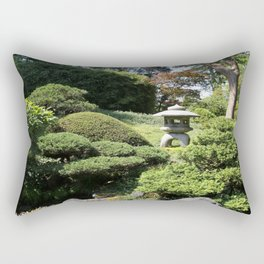 Japanese Garden View With Lantern Rectangular Pillow