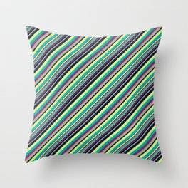 Summer Flowers Inclined Stripes Throw Pillow