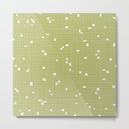 Light Green and White Grid - Missing Pieces Metal Print