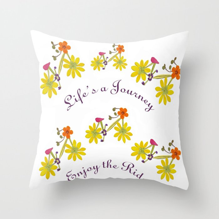 Life's A Journey Pressed Flower Bike Throw Pillow