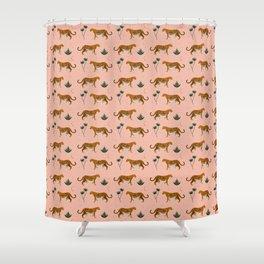 Big Cat pattern Softpink Shower Curtain