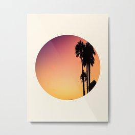 Palm Tree Silhouette & Orange Purple Sunset Metal Print