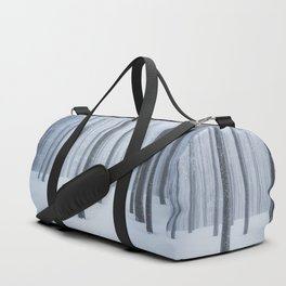 Foggy frozen winter forest Duffle Bag