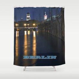 Berlin Night Skyline on the River Spree Shower Curtain