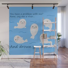 Cute seals in a river of tears Wall Mural