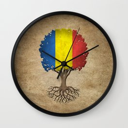 Vintage Tree of Life with Flag of Romania Wall Clock