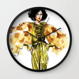 fashion 29: woman in a golden dress and fur jacket Wall Clock