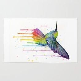 Hummingbird Rainbow Watercolor Rug