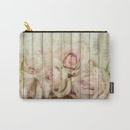 Shabby Chic Country Floral Rose Wood Carry-All Pouch