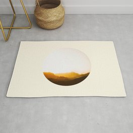 Sepia Sunset Mountains Silhouette Rug