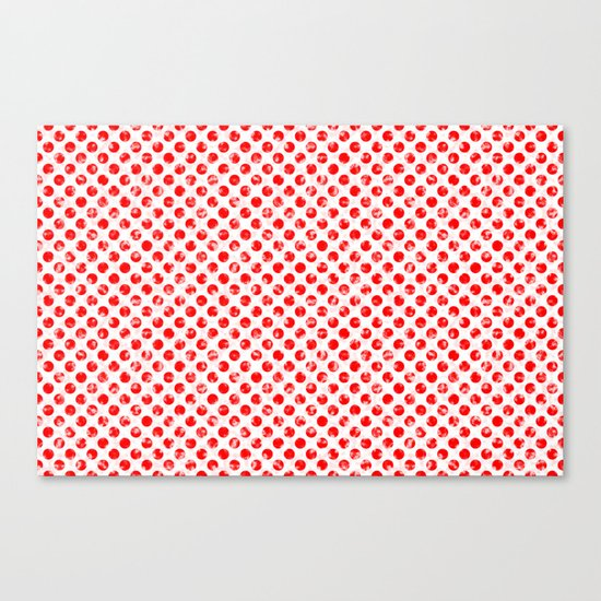 Polka Dot Red and Pink Blotchy Pattern Canvas Print