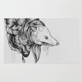 Possum Black Ink Drawing Rug
