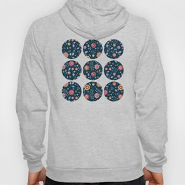 Teal and Brights Flower Pattern Design Hoody