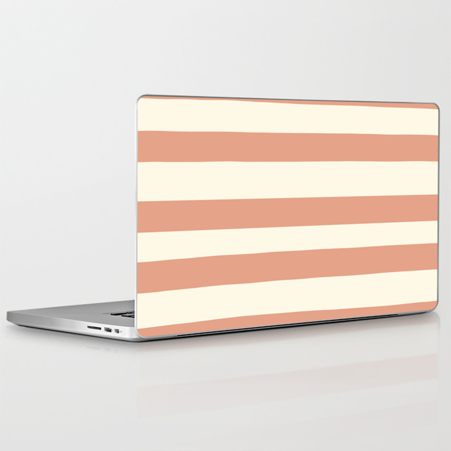 Earthen Trail Pink 4-26 Hand Drawn Fat Horizontal Lines on Dover White 33-6  Laptop & iPad Skin by pipafineart