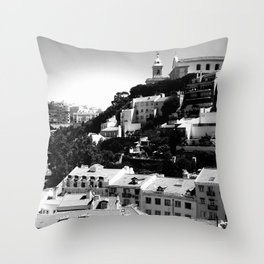 Portugal Hills, Lisbon | Black & White Throw Pillow