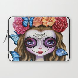 Sugar Skull Gil with Flower Crown and Butterflies Laptop Sleeve