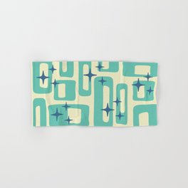 Retro Mid Century Modern Abstract Pattern 577 Turquoise Blue Hand & Bath Towel