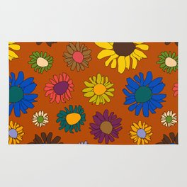 Funky Fall Harvest Floral in Terracotta Rust Rug