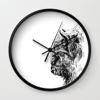 buffalo Wall Clocks featuring Buffalo by Ingrid Restemayer