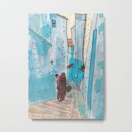 Chefchaouen Street, Blue City Morocco Cityscape Paper Collage Sketch Metal Print