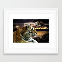 novelty Framed Art Prints featuring Sunset Tiger by Moody Muse