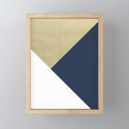 Gold meets Navy Blue & White Geometric #1 #minimal #decor #art #society6 Framed Mini Art Print