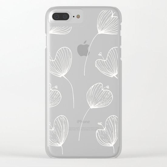 Delicate Floral Pink Pattern Clear iPhone Case