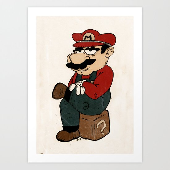 Super Bored Mario Art Print