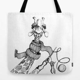 Knitting Giraffe Tote Bag