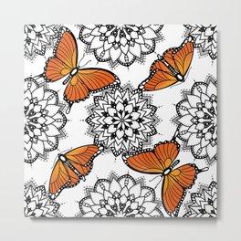 Butterflies and mandalas 1 Metal Print