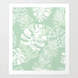 Minty Monstera Leaves Art Print