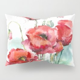 Watercolor red poppies flowers Pillow Sham