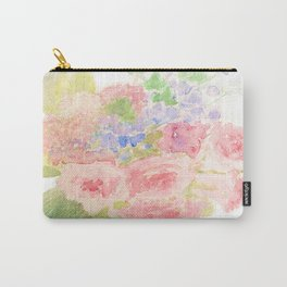 Garden Bouquet Watercolor Wedding Pink Roses Carry-All Pouch