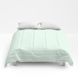 Pastel Mint and White Spring Stripes Comforters