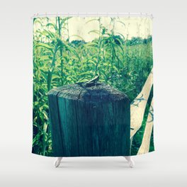 Grasshopper on a Fence Post Shower Curtain