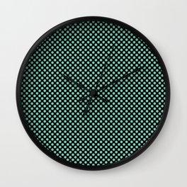 Black and Lucite Green Polka Dots Wall Clock