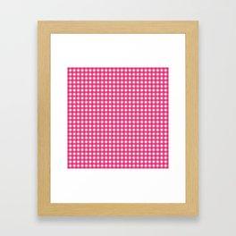 Farmhouse Gingham in Dark Pink Framed Art Print