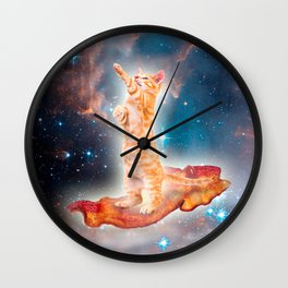 Bacon Surfing Cat in the Universe Wall Clock