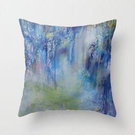 Wisteria Etude in Blue Throw Pillow