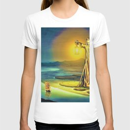 The Guiding Light, magical realism river landscape painting T-shirt