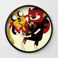 wrestling Wall Clocks featuring It's Wrestling Time!  by Rad Recorder